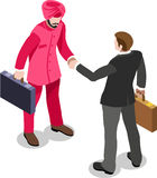 Homem de negócios isométrico Sale Lead Bank ilustração do vetor