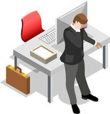 Homem de negócios isométrico Sale Lead Bank ilustração stock