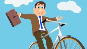 Homem de negócios Joyfully Rides Bike Imagens de Stock Royalty Free