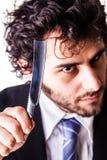 Homem de negócios louco da garganta do corte Fotografia de Stock