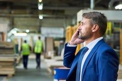 Homem de negócios maduro Speaking pelo telefone na fábrica fotografia de stock royalty free