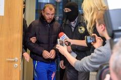 Homem de negócios Maris Martinsons prendida em Riga, Letónia fotografia de stock