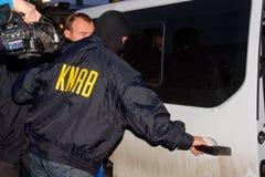 Homem de negócios Maris Martinsons prendida em Riga, Letónia imagens de stock