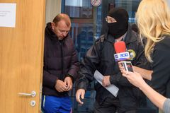 Homem de negócios Maris Martinsons prendida em Riga, Letónia fotos de stock royalty free