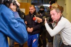 Homem de negócios Maris Martinsons prendida em Riga, Letónia fotos de stock