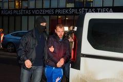 Homem de negócios Maris Martinsons prendida em Riga, Letónia foto de stock