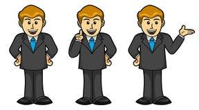 Homem de negócios masculino em poses diferentes, desenhos animados Imagem de Stock Royalty Free