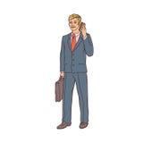 Homem de negócios masculino em um terno de negócio e em uma mala de viagem a falar à disposição no telefone celular Trabalhador n ilustração stock