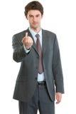 Homem de negócios moderno que beckoning com dedo fotografia de stock royalty free