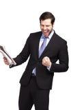 Homem de negócios muito feliz fotografia de stock