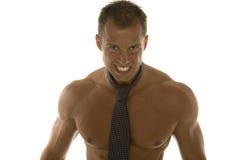 Homem de negócios muscular irritado Fotografia de Stock