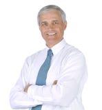 Homem de negócios na camisa e no laço brancos Imagens de Stock Royalty Free