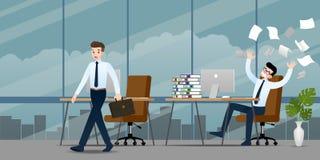 Homem de negócios na emoção diferente Dois homens de negócios têm a situação do contraste da lata do trabalho um a casa traseira  ilustração royalty free