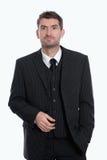 Homem de negócios na frente do fundo branco foto de stock royalty free
