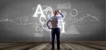 Homem de negócios na frente de uma parede com ícone da inteligência artificial com meia rendição do circuito 3d do cérebro e da m imagem de stock