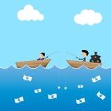homem de negócios 2 na isca do dólar do uso do barco para travar o negócio de dinheiro l ilustração royalty free