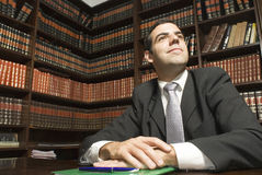 Homem de negócios na mesa - horizontal Imagens de Stock