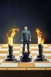 Homem de negócios na placa de xadrez Foto de Stock Royalty Free