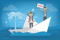 Homem de negócios na posição do terno no barco que se afunda ilustração do vetor