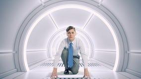Homem de negócios na sala 3D Meios mistos Foto de Stock