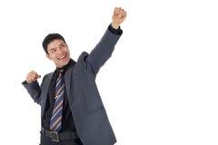 Homem de negócios nepalês alegre, vencedor Fotos de Stock Royalty Free