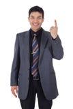 Homem de negócios nepalês atrativo, dedo fotografia de stock