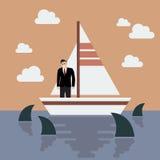 Homem de negócios no bote com o tubarão no mar ilustração stock