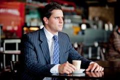 Homem de negócios no café fotografia de stock