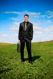 Homem de negócios no campo Foto de Stock