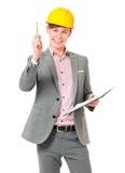 Homem de negócios no capacete de segurança Fotografia de Stock