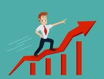 Homem de negócios no gráfico de barra Imagens de Stock