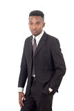 Homem de negócios no indivíduo branco do fundo, do terno e do laço imagem de stock