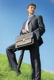 Homem de negócios no prado fotografia de stock royalty free
