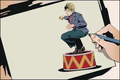 Homem de negócios no suporte do circo Ilustração conservada em estoque Imagem de Stock