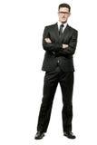 Homem de negócios no terno preto no branco. imagens de stock royalty free