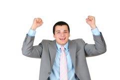 Homem de negócios novo alegre isolado Fotografia de Stock Royalty Free