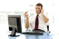 Homem de negócios novo bem sucedido no telefone Fotografia de Stock