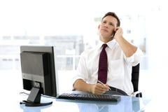 Homem de negócios novo bem sucedido no telefone Foto de Stock Royalty Free