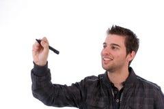 Homem de negócios novo, cheio dos pensamentos Fotografia de Stock