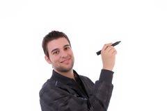 Homem de negócios novo, cheio dos pensamentos Imagens de Stock Royalty Free