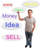 Homem de negócios novo, cheio dos pensamentos Imagens de Stock