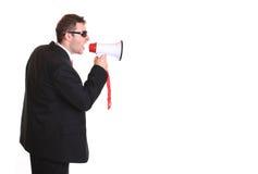 Homem de negócios novo com altifalante Imagens de Stock