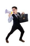 Homem de negócios novo com altifalante Fotos de Stock