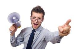 Homem de negócios novo com altifalante Fotografia de Stock