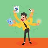 Homem de negócios novo com elementos infographic Imagens de Stock Royalty Free