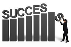 Homem de negócios novo com texto do sucesso 3d Imagens de Stock