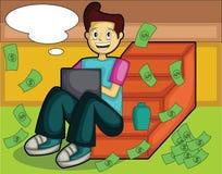 Homem de negócios novo do Internet do sucesso com bolha do pensamento ilustração royalty free