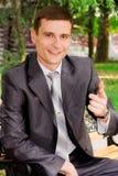 Homem de negócios novo emocional Imagens de Stock Royalty Free