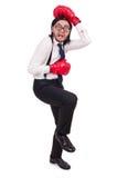 Homem de negócios novo engraçado com as luvas de encaixotamento isoladas Fotografia de Stock Royalty Free