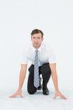 Homem de negócios novo Geeky pronto para competir foto de stock royalty free